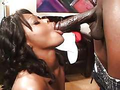 Red latex boots ebony Storm anal..