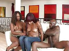 Mature ebony women banged by a..