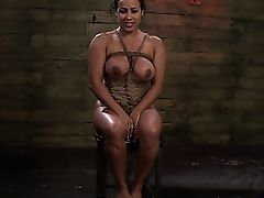 Busty bondage ebony blindfolded..